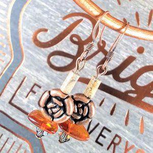 Copper Roses with Amber & Swarovski Earrings